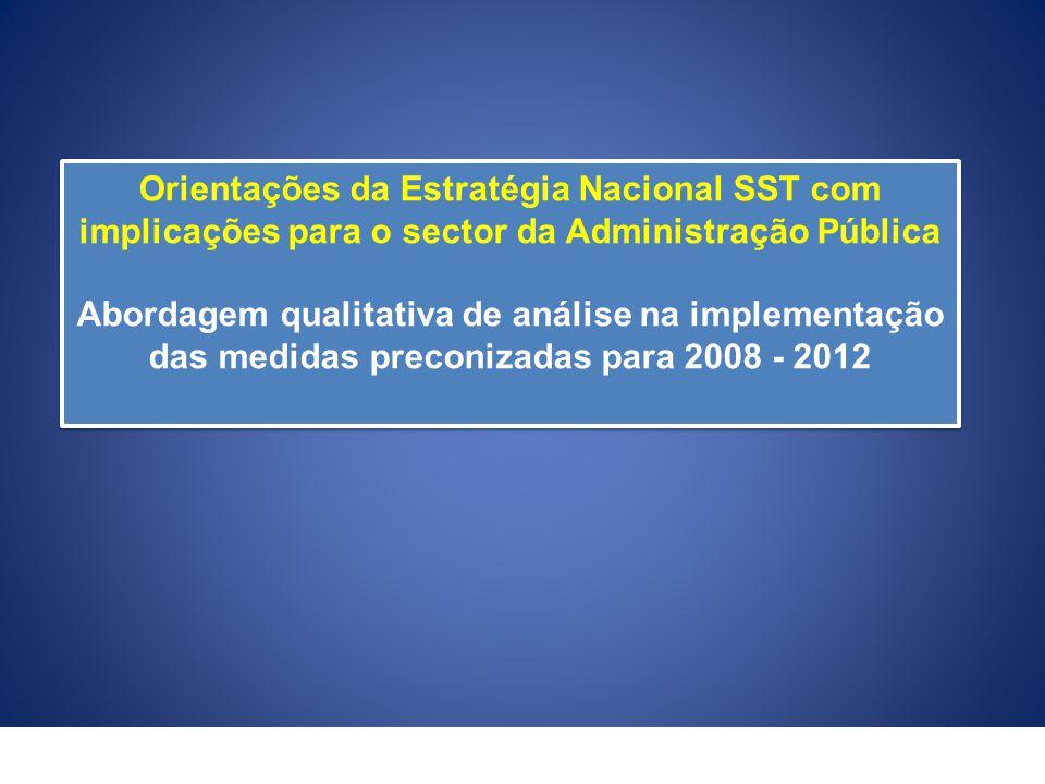 Orientações da Estratégia Nacional SST com implicações para o sector da Administração Pública