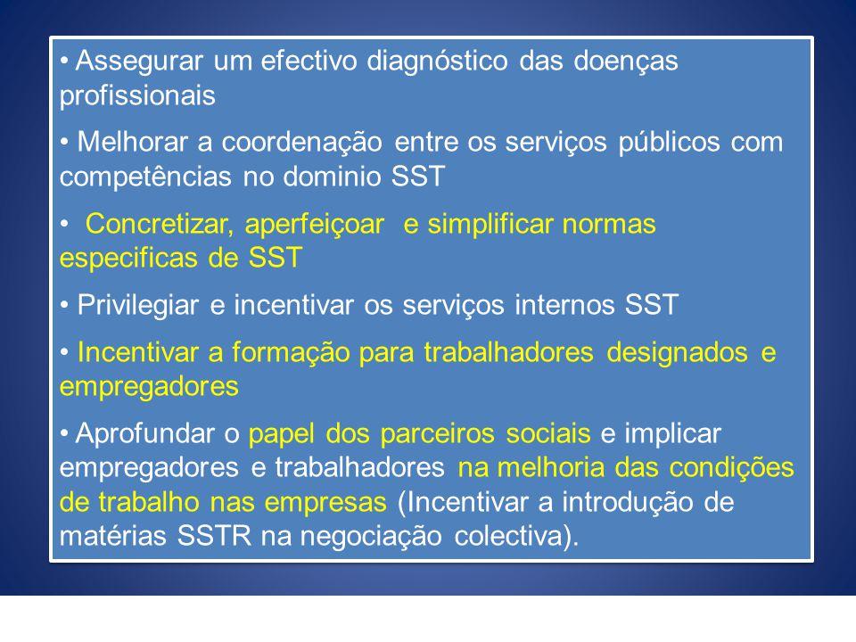 Assegurar um efectivo diagnóstico das doenças profissionais