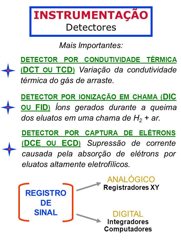INSTRUMENTAÇÃO Detectores Mais Importantes: ANALÓGICO REGISTRO DE