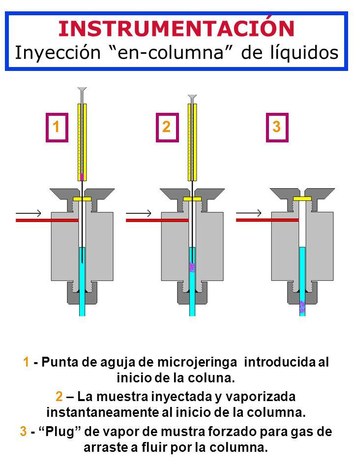1 - Punta de aguja de microjeringa introducida al inicio de la coluna.