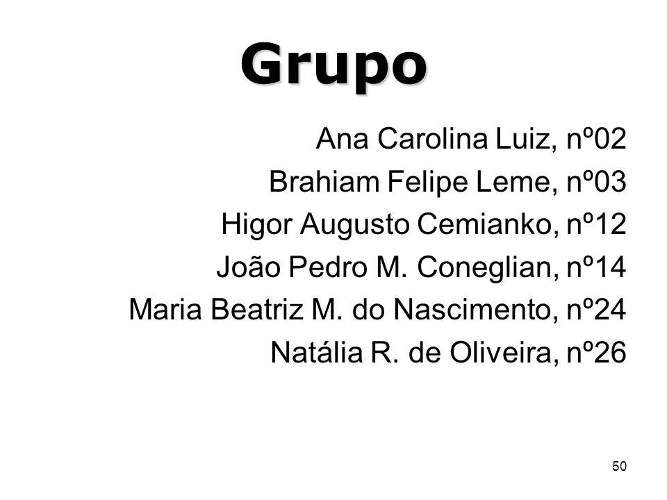 Grupo Ana Carolina Luiz, nº02 Brahiam Felipe Leme, nº03