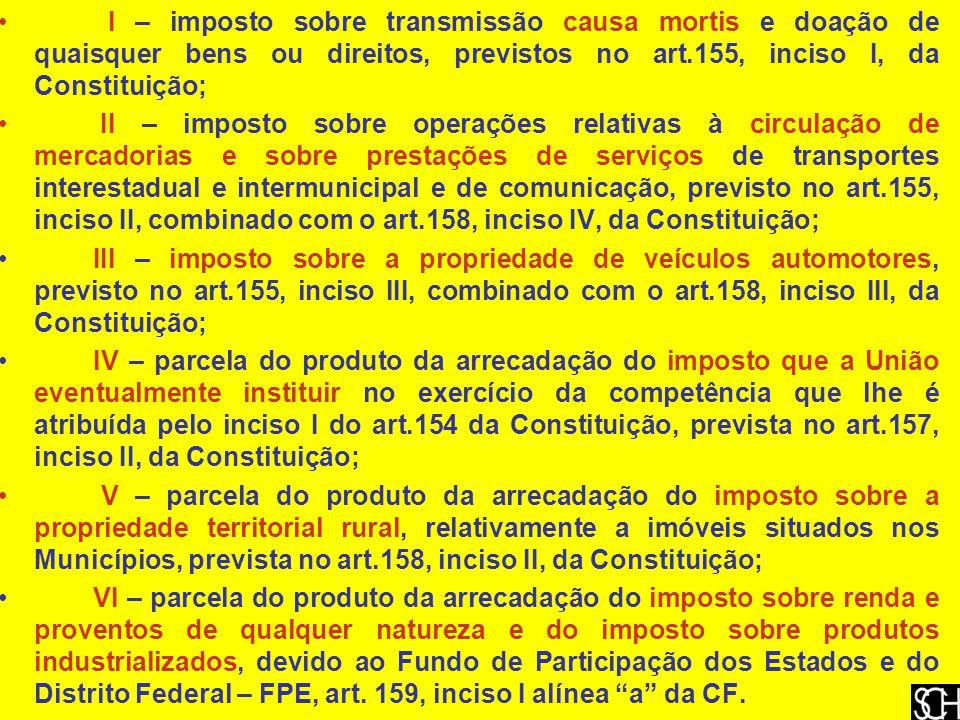 I – imposto sobre transmissão causa mortis e doação de quaisquer bens ou direitos, previstos no art.155, inciso I, da Constituição;