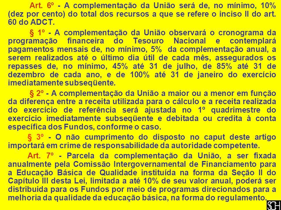 Art. 6º - A complementação da União será de, no mínimo, 10% (dez por cento) do total dos recursos a que se refere o inciso II do art. 60 do ADCT.
