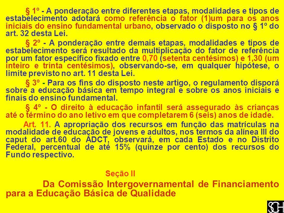 § 1º - A ponderação entre diferentes etapas, modalidades e tipos de estabelecimento adotará como referência o fator (1)um para os anos iniciais do ensino fundamental urbano, observado o disposto no § 1º do art. 32 desta Lei.
