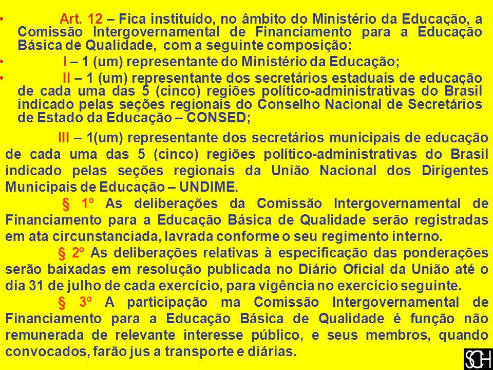 Art. 12 – Fica instituído, no âmbito do Ministério da Educação, a Comissão Intergovernamental de Financiamento para a Educação Básica de Qualidade, com a seguinte composição: