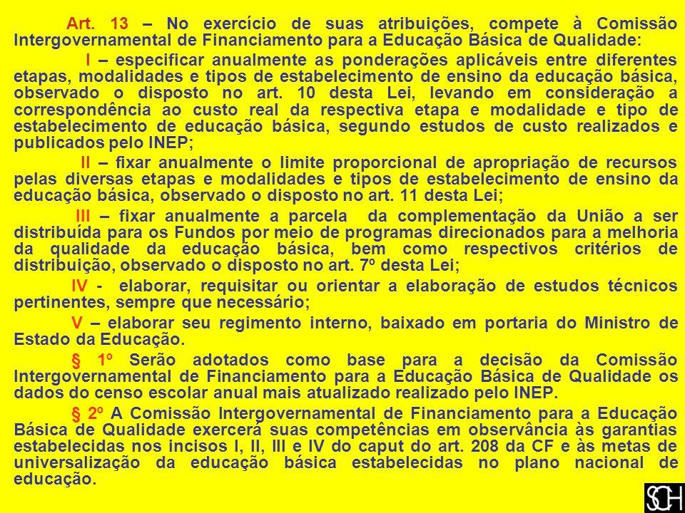 Art. 13 – No exercício de suas atribuições, compete à Comissão Intergovernamental de Financiamento para a Educação Básica de Qualidade: