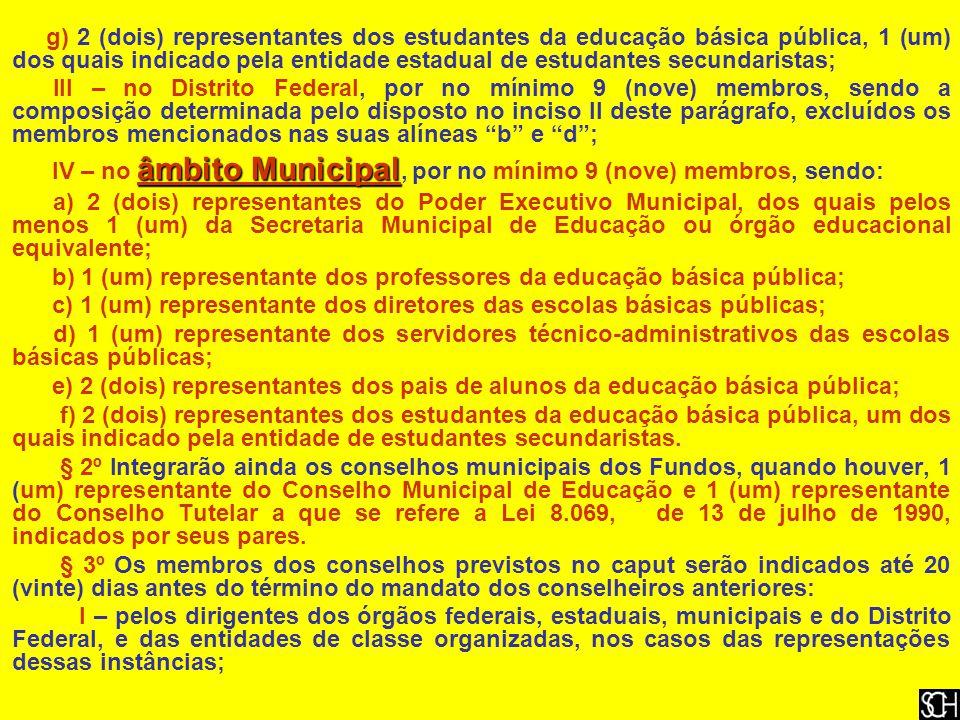 g) 2 (dois) representantes dos estudantes da educação básica pública, 1 (um) dos quais indicado pela entidade estadual de estudantes secundaristas;