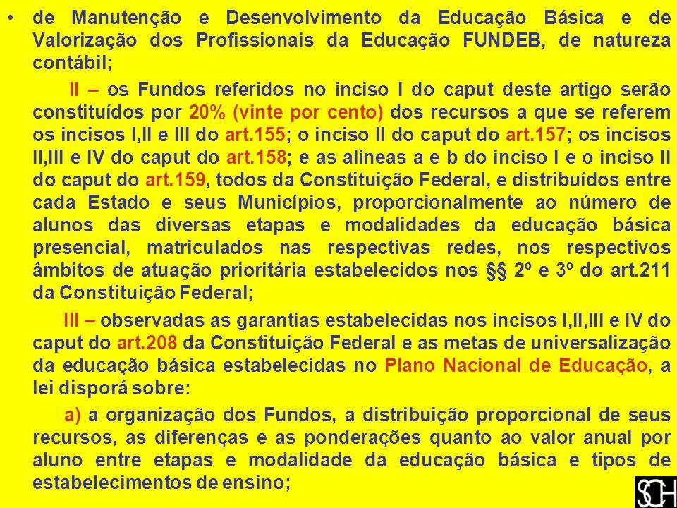 de Manutenção e Desenvolvimento da Educação Básica e de Valorização dos Profissionais da Educação FUNDEB, de natureza contábil;