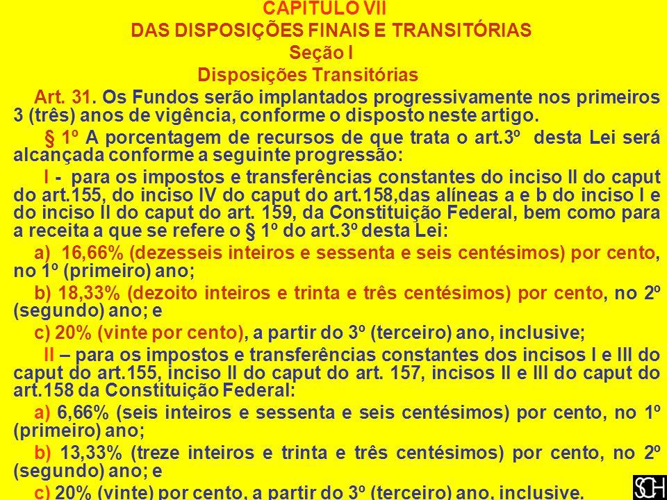 CAPÍTULO VII DAS DISPOSIÇÕES FINAIS E TRANSITÓRIAS. Seção I. Disposições Transitórias.