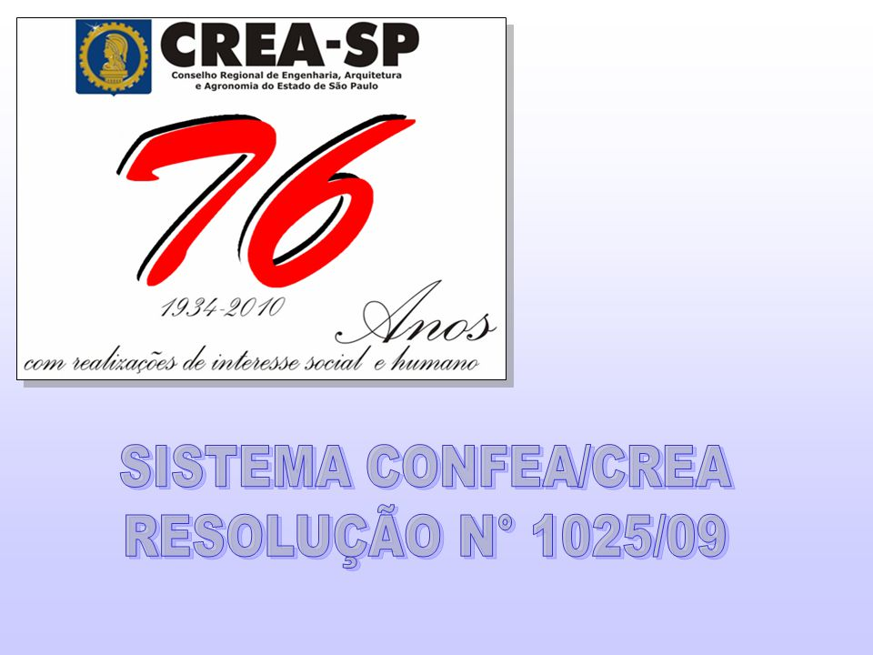 SISTEMA CONFEA/CREA RESOLUÇÃO N° 1025/09