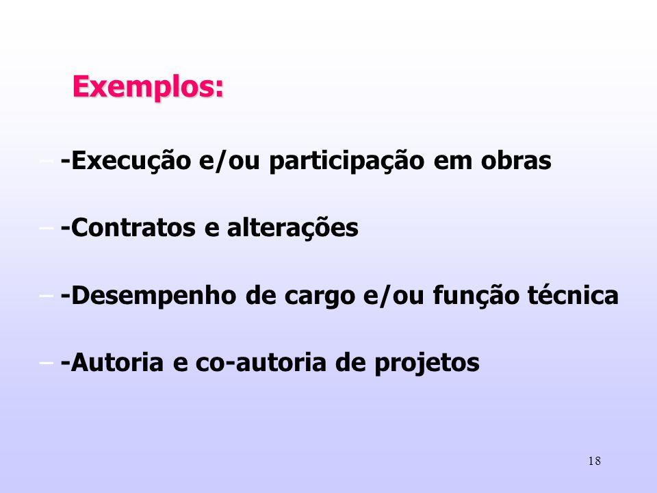 Exemplos: -Execução e/ou participação em obras. -Contratos e alterações. -Desempenho de cargo e/ou função técnica.