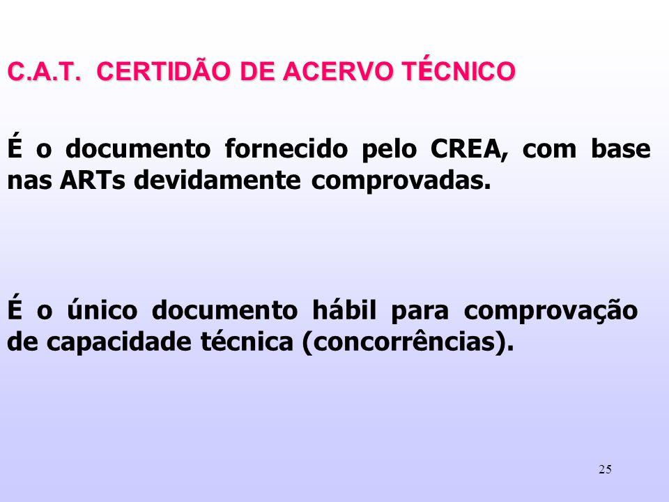 C.A.T. CERTIDÃO DE ACERVO TÉCNICO