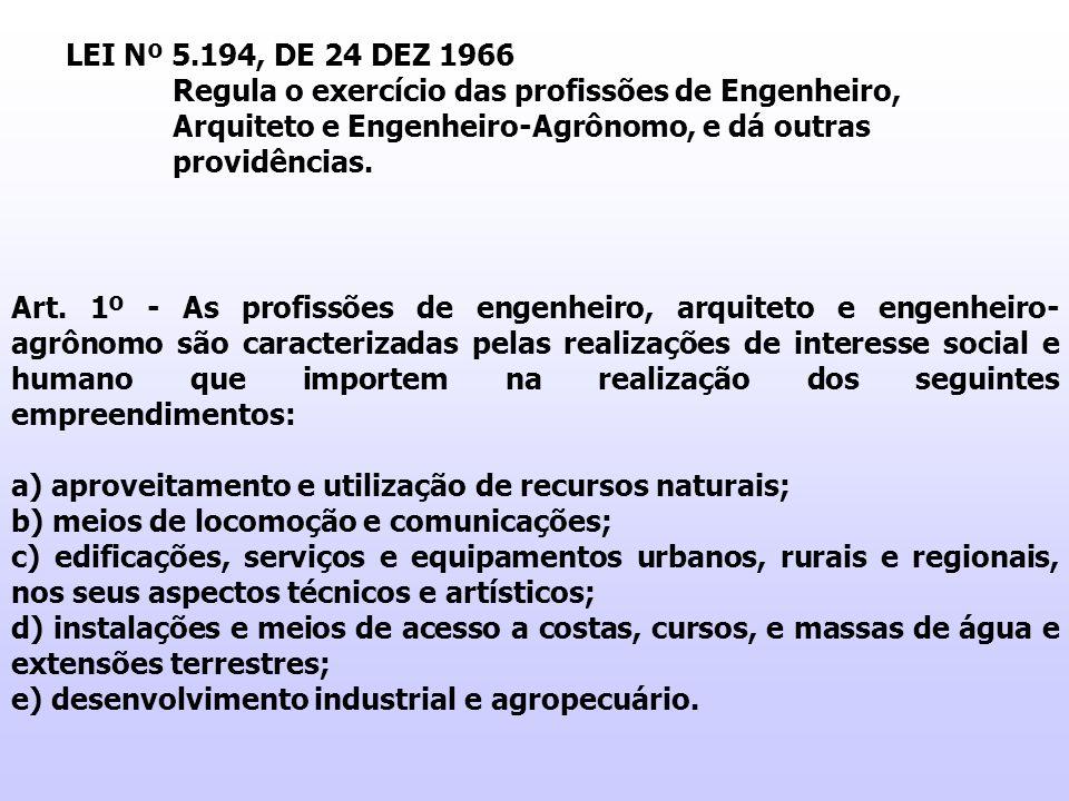LEI Nº 5.194, DE 24 DEZ 1966 Regula o exercício das profissões de Engenheiro, Arquiteto e Engenheiro-Agrônomo, e dá outras providências.