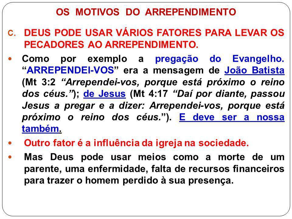 OS MOTIVOS DO ARREPENDIMENTO