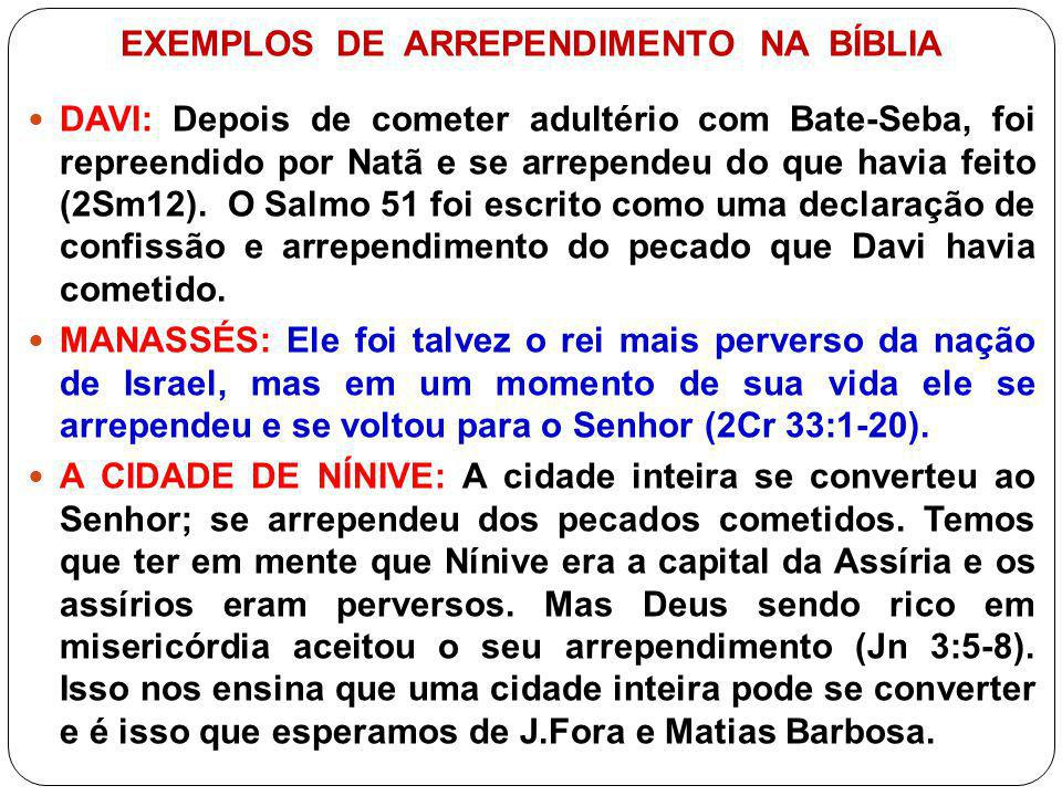 EXEMPLOS DE ARREPENDIMENTO NA BÍBLIA