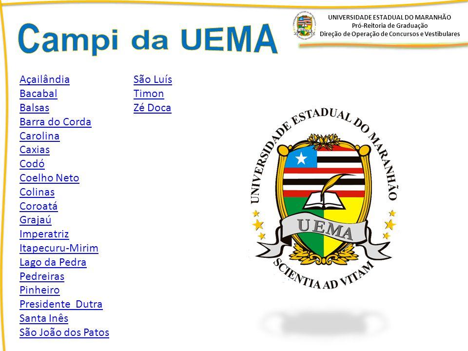 Campi da UEMA Açailândia São Luís Bacabal Timon Balsas Zé Doca