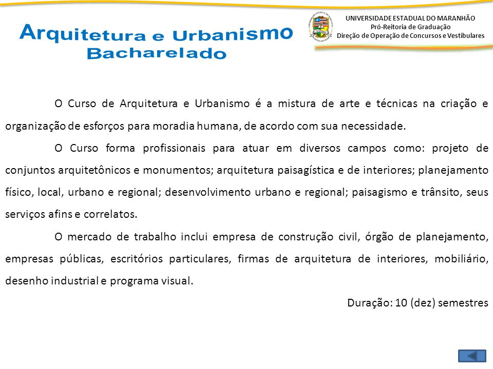Arquitetura e Urbanismo Bacharelado