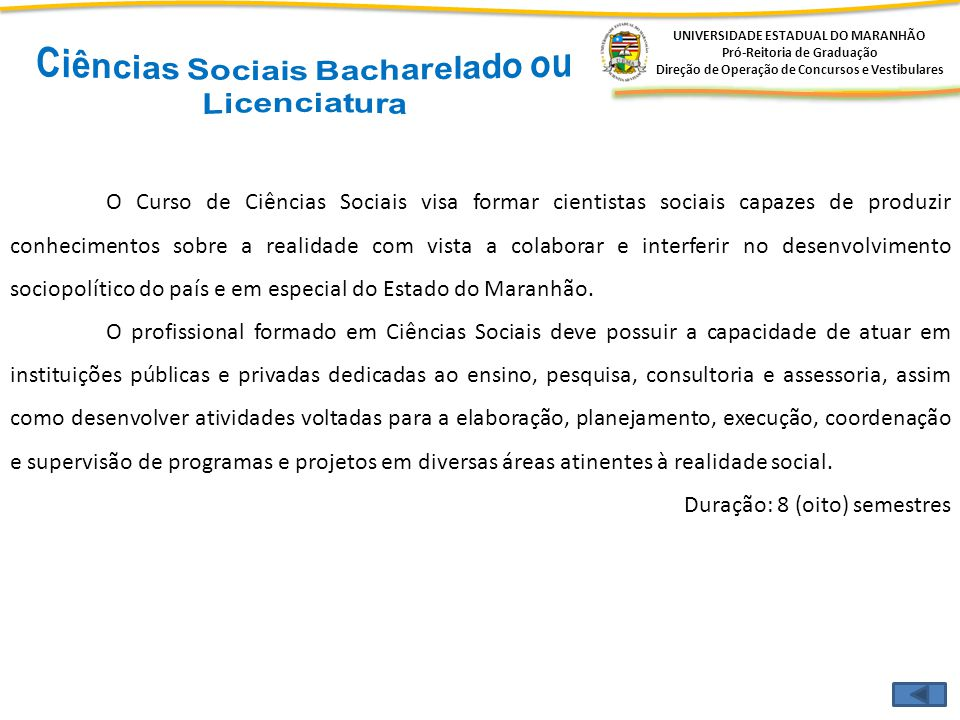 Ciências Sociais Bacharelado ou Licenciatura
