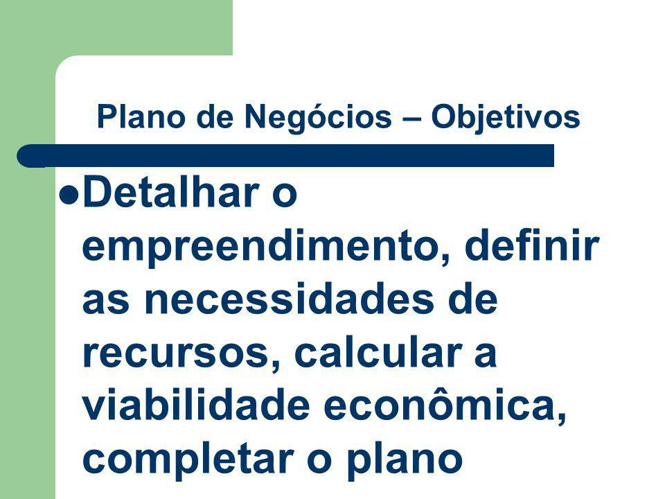 Plano de Negócios – Objetivos