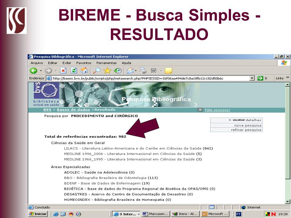 BIREME - Busca Simples - RESULTADO