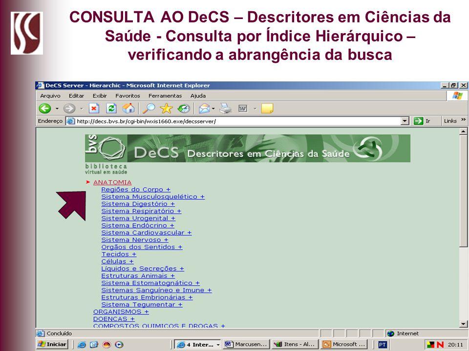 CONSULTA AO DeCS – Descritores em Ciências da Saúde - Consulta por Índice Hierárquico – verificando a abrangência da busca