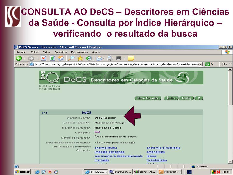 CONSULTA AO DeCS – Descritores em Ciências da Saúde - Consulta por Índice Hierárquico – verificando o resultado da busca