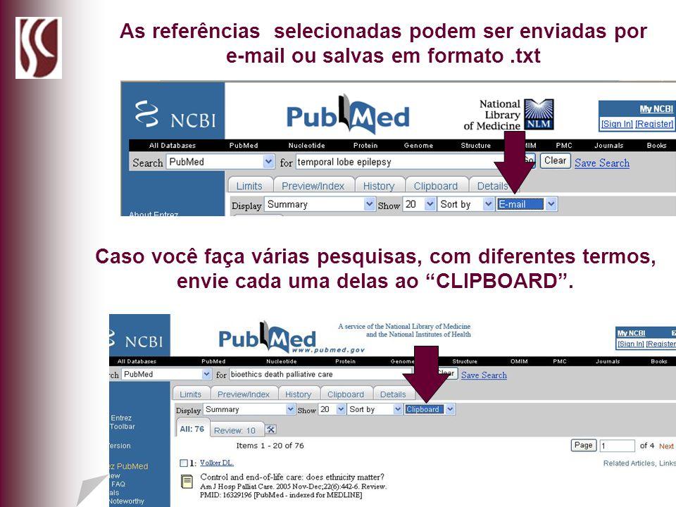 As referências selecionadas podem ser enviadas por e-mail ou salvas em formato .txt