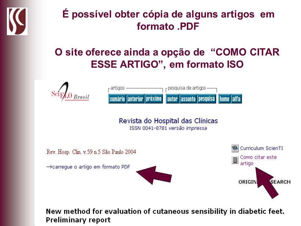 É possível obter cópia de alguns artigos em formato .PDF