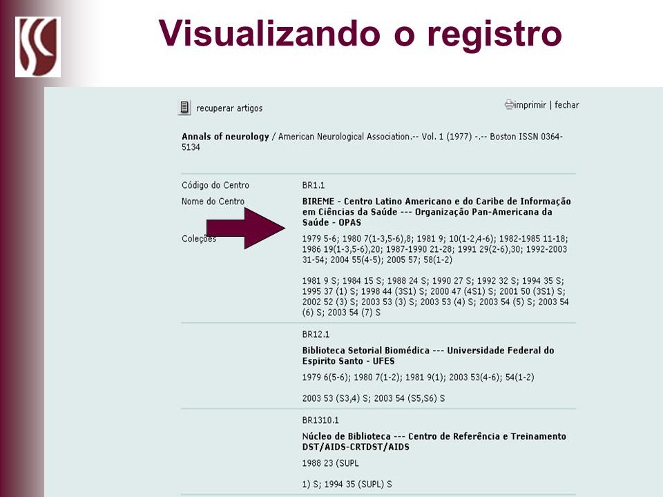 Visualizando o registro