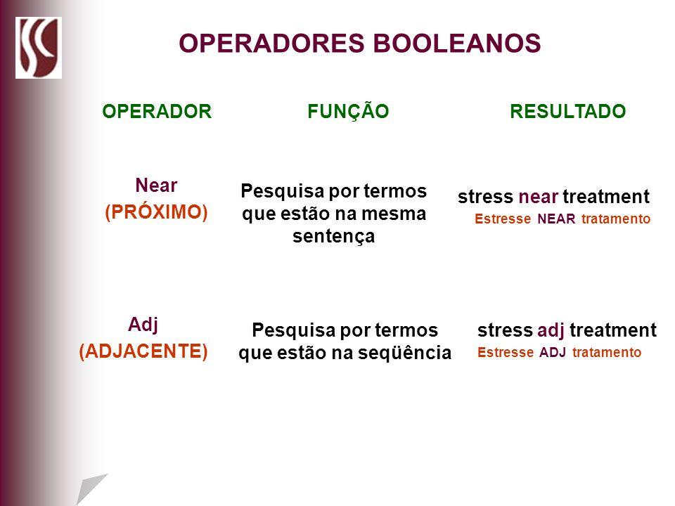 OPERADORES BOOLEANOS OPERADOR FUNÇÃO RESULTADO Near (PRÓXIMO)