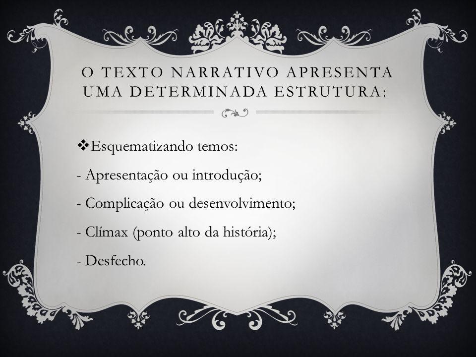 o texto narrativo apresenta uma determinada estrutura: