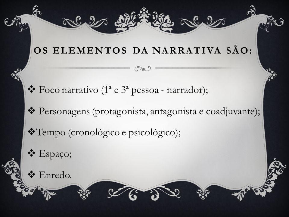 OS ELEMENTOS DA NARRATIVA SÃO: