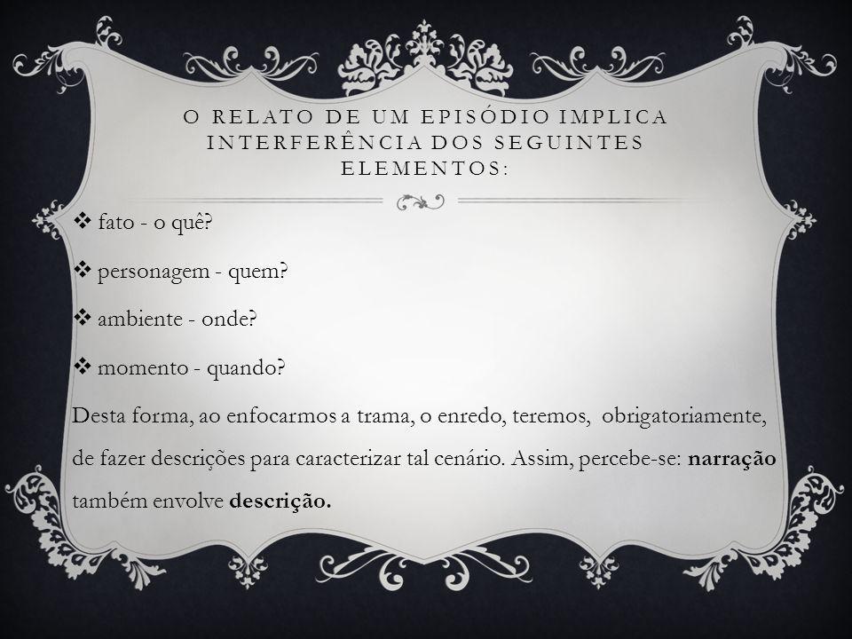 O relato de um episódio implica interferência dos seguintes elementos: