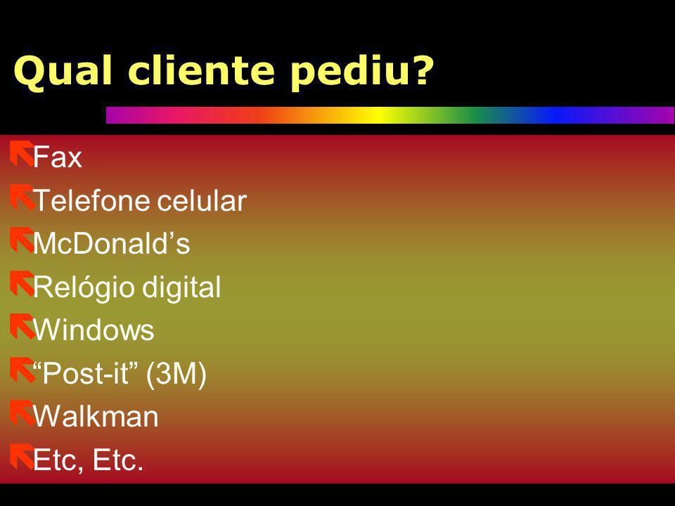 Qual cliente pediu Fax Telefone celular McDonald's Relógio digital