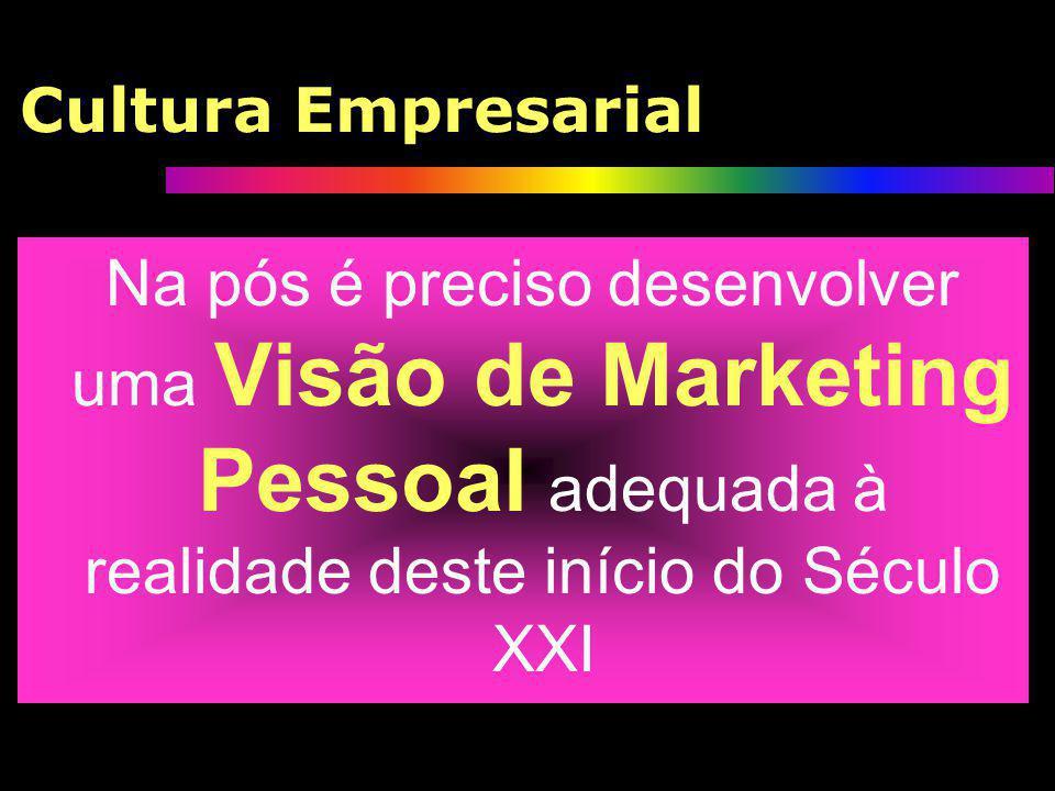 Cultura Empresarial Na pós é preciso desenvolver uma Visão de Marketing Pessoal adequada à realidade deste início do Século XXI.