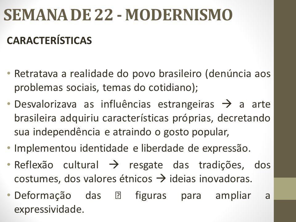SEMANA DE 22 - MODERNISMO CARACTERÍSTICAS