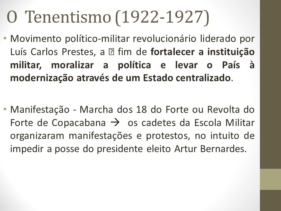 O Tenentismo (1922-1927)