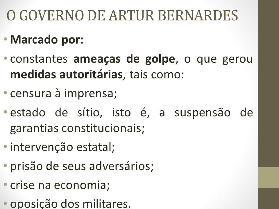 O GOVERNO DE ARTUR BERNARDES