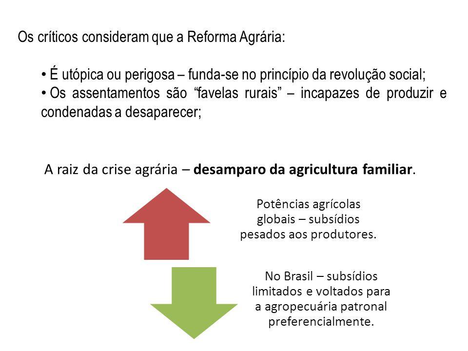 Os críticos consideram que a Reforma Agrária: