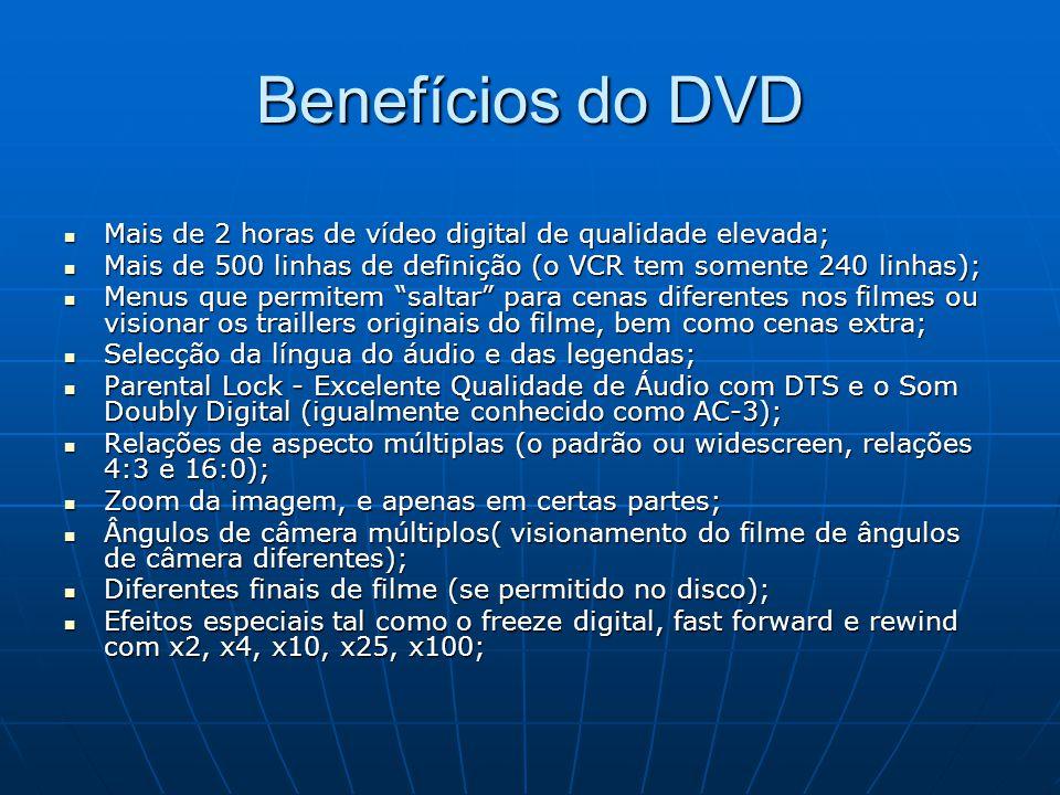 Benefícios do DVD Mais de 2 horas de vídeo digital de qualidade elevada; Mais de 500 linhas de definição (o VCR tem somente 240 linhas);