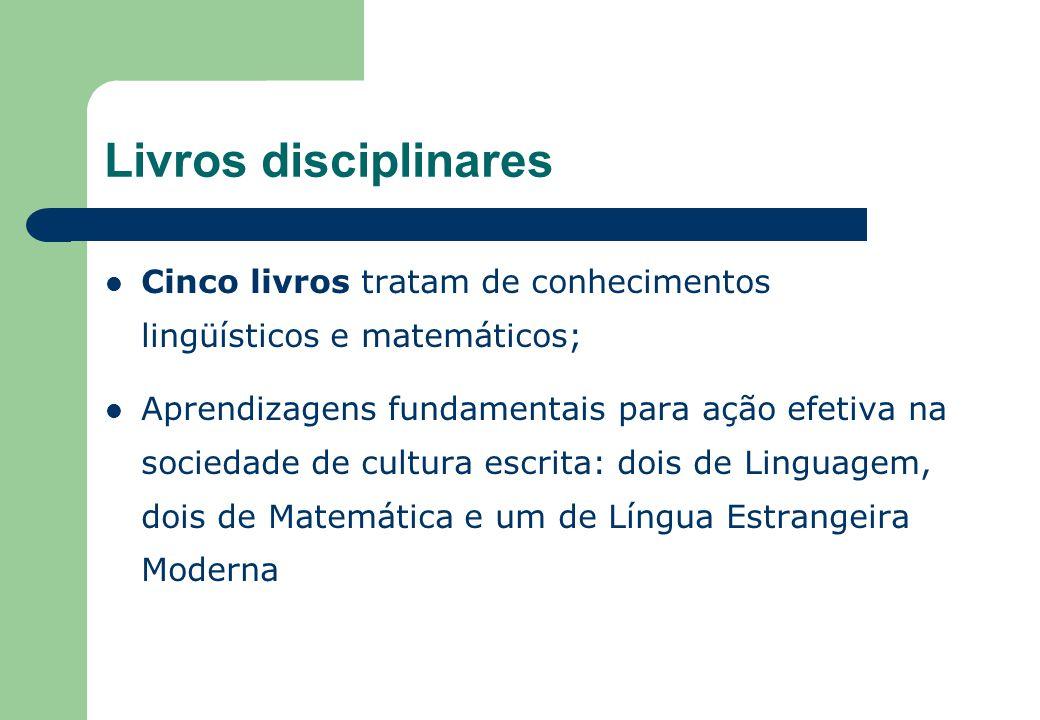 Livros disciplinares Cinco livros tratam de conhecimentos lingüísticos e matemáticos;