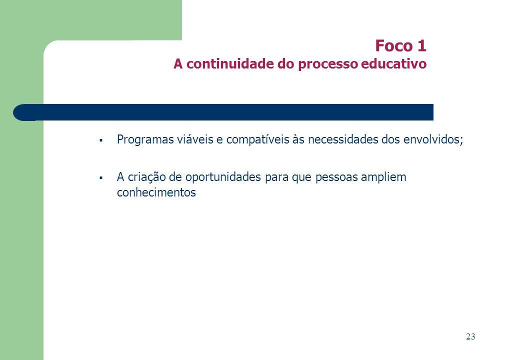 Foco 1 A continuidade do processo educativo