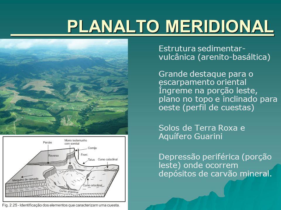 PLANALTO MERIDIONAL Estrutura sedimentar-vulcânica (arenito-basáltica)