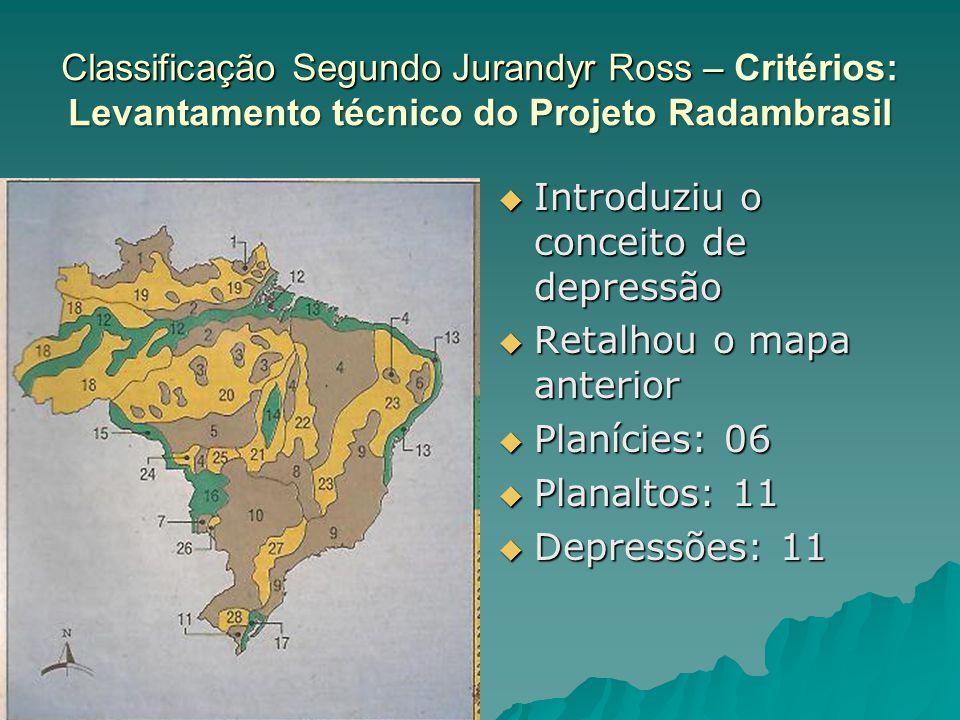 Classificação Segundo Jurandyr Ross – Critérios: Levantamento técnico do Projeto Radambrasil