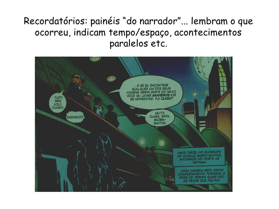 Recordatórios: painéis do narrador