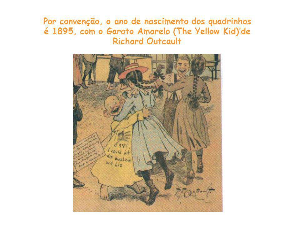 Por convenção, o ano de nascimento dos quadrinhos é 1895, com o Garoto Amarelo (The Yellow Kid)'de Richard Outcault