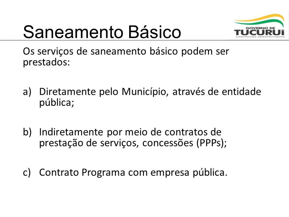 Saneamento Básico Os serviços de saneamento básico podem ser prestados: Diretamente pelo Município, através de entidade pública;