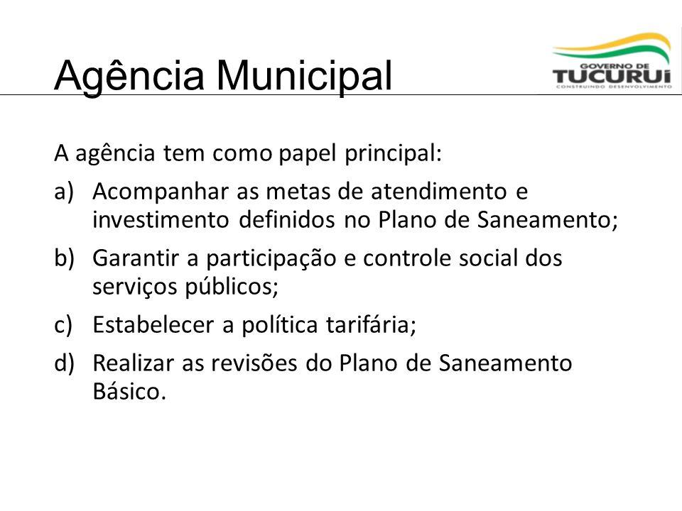Agência Municipal A agência tem como papel principal: