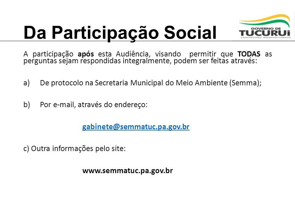 Da Participação Social