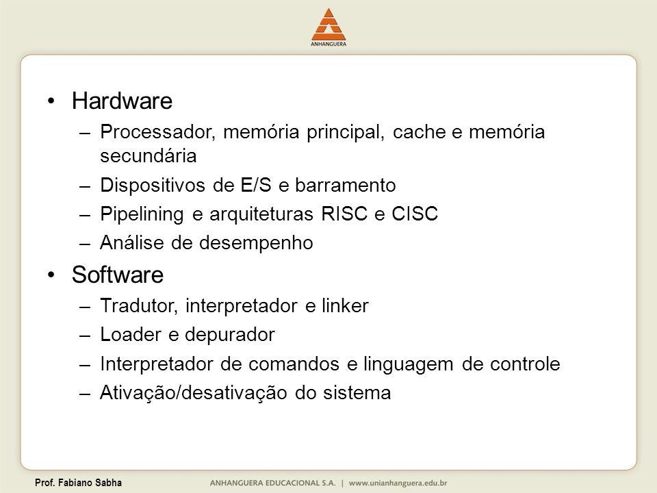 Hardware Processador, memória principal, cache e memória secundária. Dispositivos de E/S e barramento.
